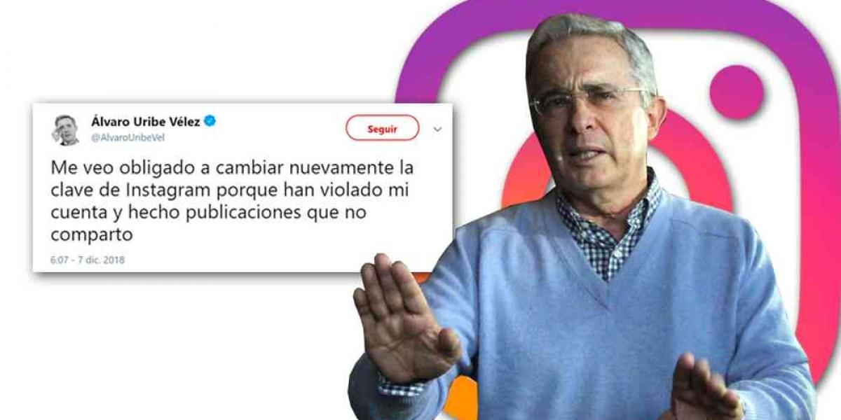 Álvaro Uribe, denuncia que su Instagram fue hackeado.