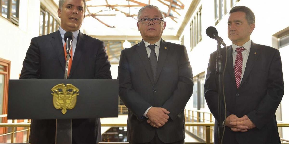 El Presidente Iván Duque y el presidente de la Corte Suprema de Justicia, José Luis Barceló.
