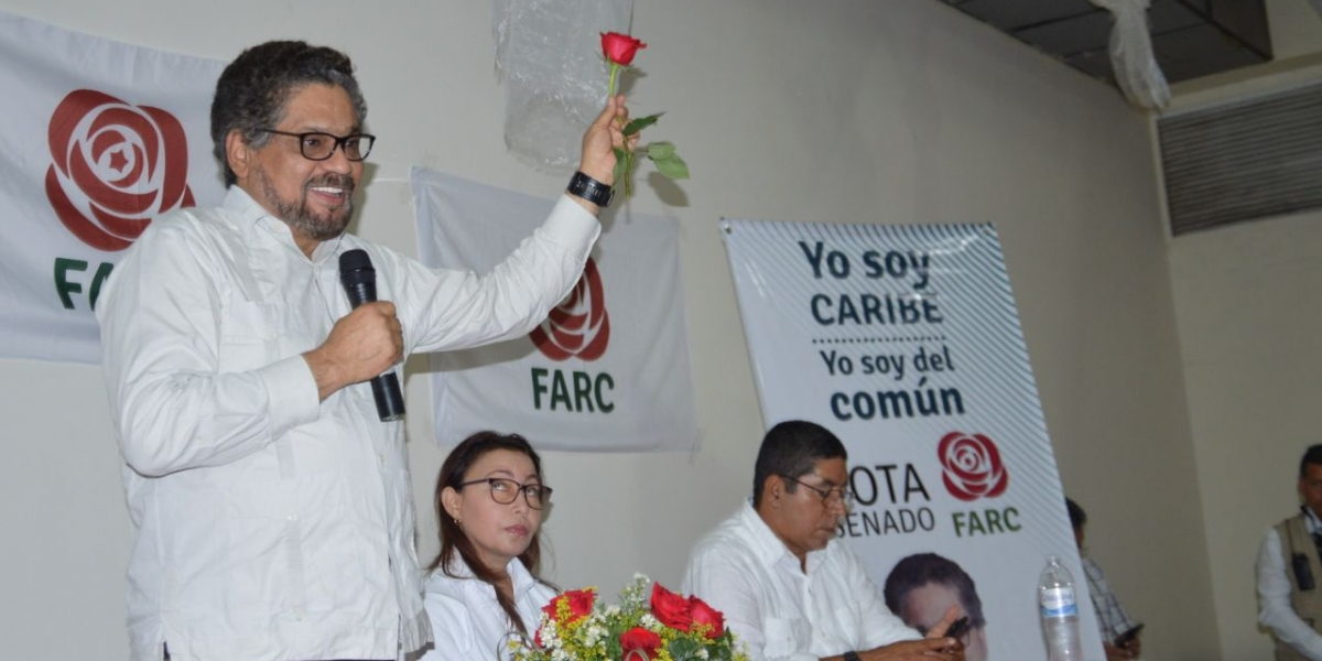 Iván Márquez, durante el evento proselitista en el que anunció el apoyo oficial a Patricia Caicedo.