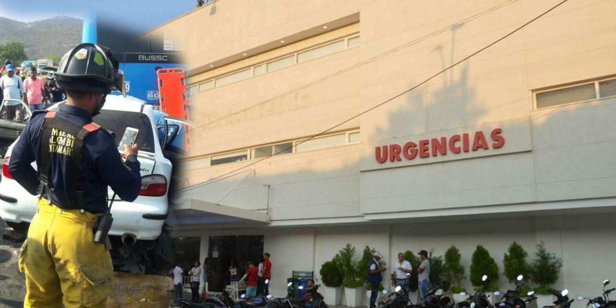 En la clínica Bahía murieron el conductor y una pasajera del automóvil.