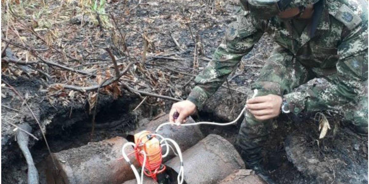Explosivos hallados por el Ejército.