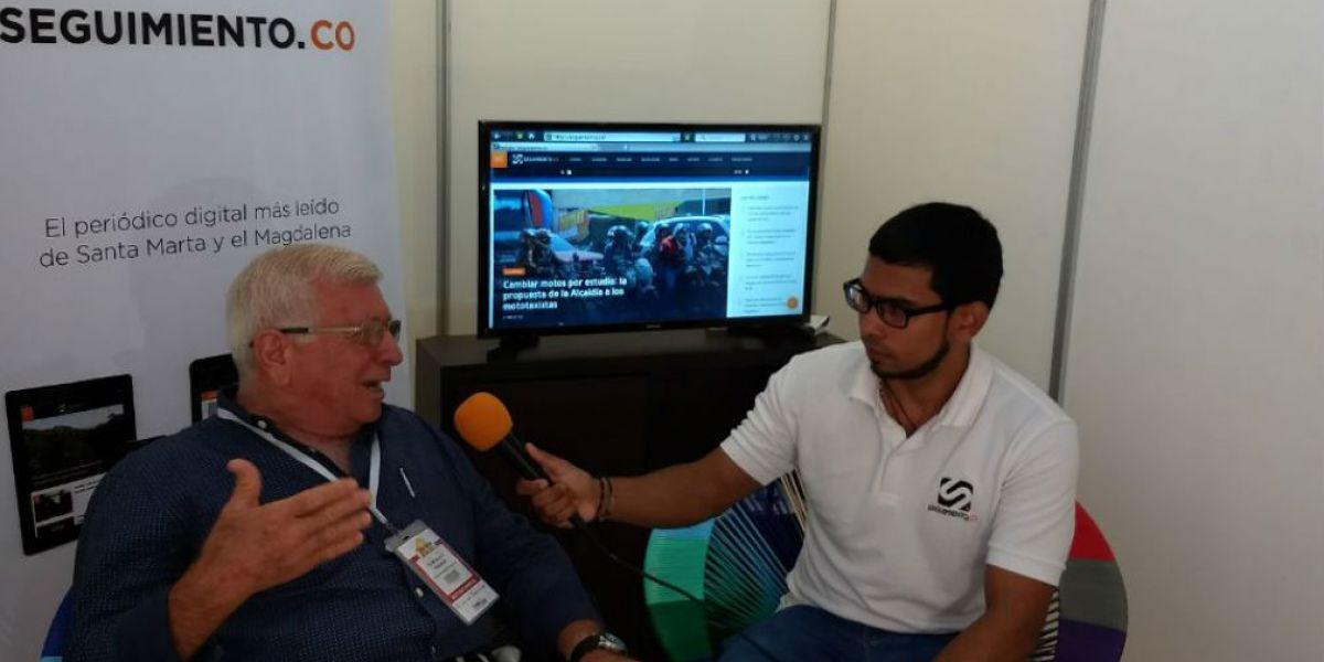 Elías George en entrevista con Seguimiento.co durante el cubrimiento especial del 1er Encuentro de la Cadena Turística del Caribe Colombiano.