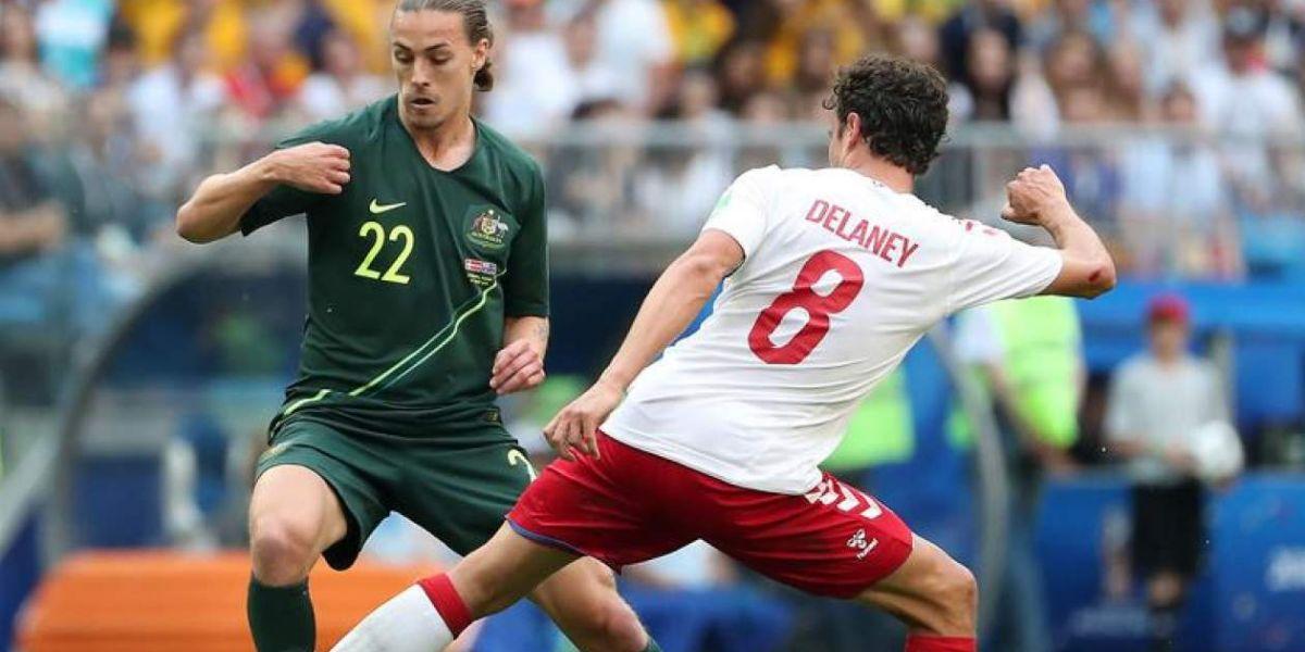 Secuencia del partido Australia-Dinamarca que empataron 1-1.