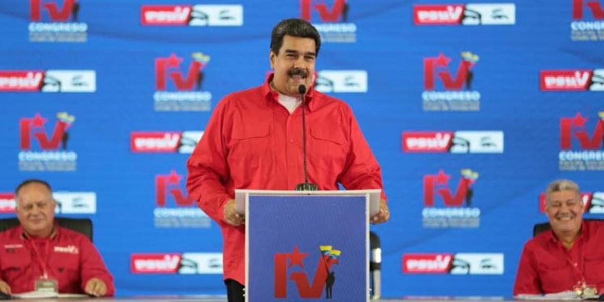Nicolás Maduro interviniendo en el Congreso del Partido Socialista Unido.