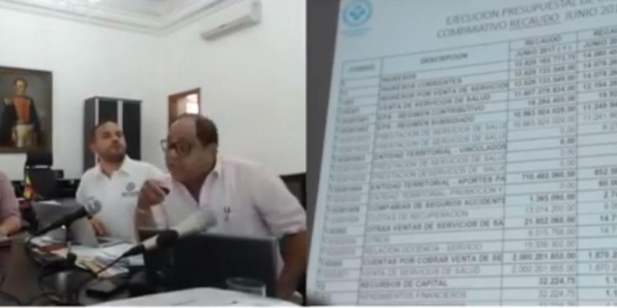 Aspecto de la junta directiva de la ESE Distrital en el despacho del alcalde Rafael Martínez.