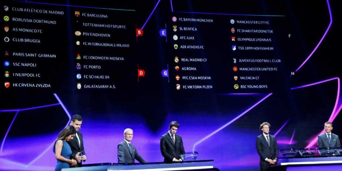 Sorteo de la UEFA de la fase de grupos de la Liga de Campeones.
