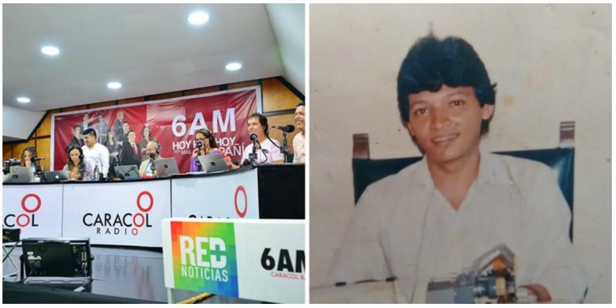 A la izquierda, la última visita del equipo de 6AM de Caracol Radio a Santa Marta. A la derecha, el periodista Agustín Iguarán en la sala de redacción de Caracol en los ochenta.