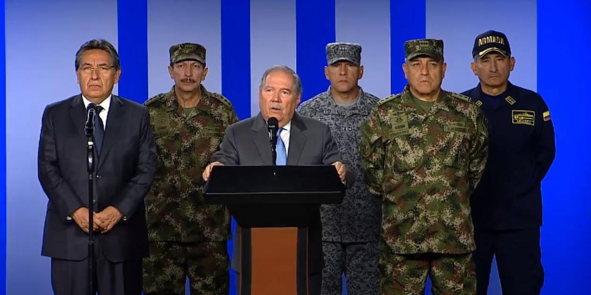 El ministro de Defensa, Guillermo Botero, en rueda de prensa.