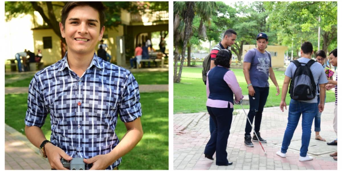 Nelson Cano, estudiante creador de 'bastón inteligente' para personas con discapacidad visual