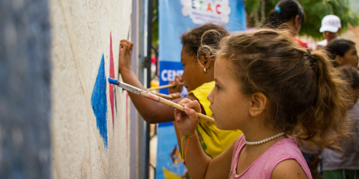 Niños y niñas participaron de la estrategia cultural en el barrio Galán.