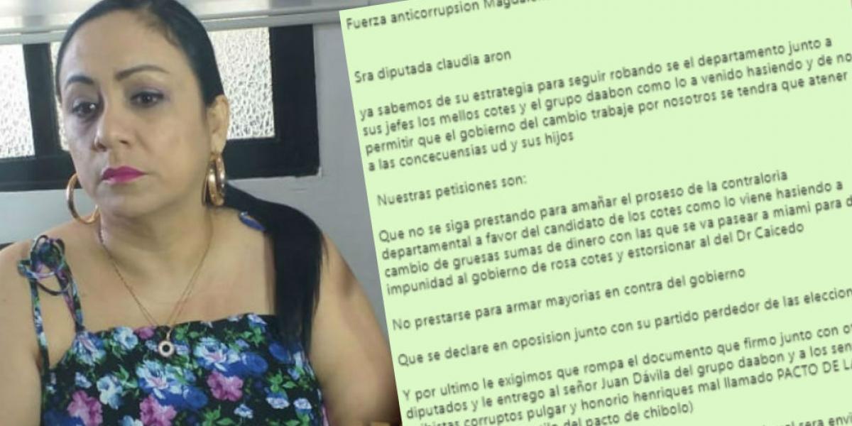 Claudia Patricia Aarón, diputada del Magdalena amenazada de muerte la semana pasada.