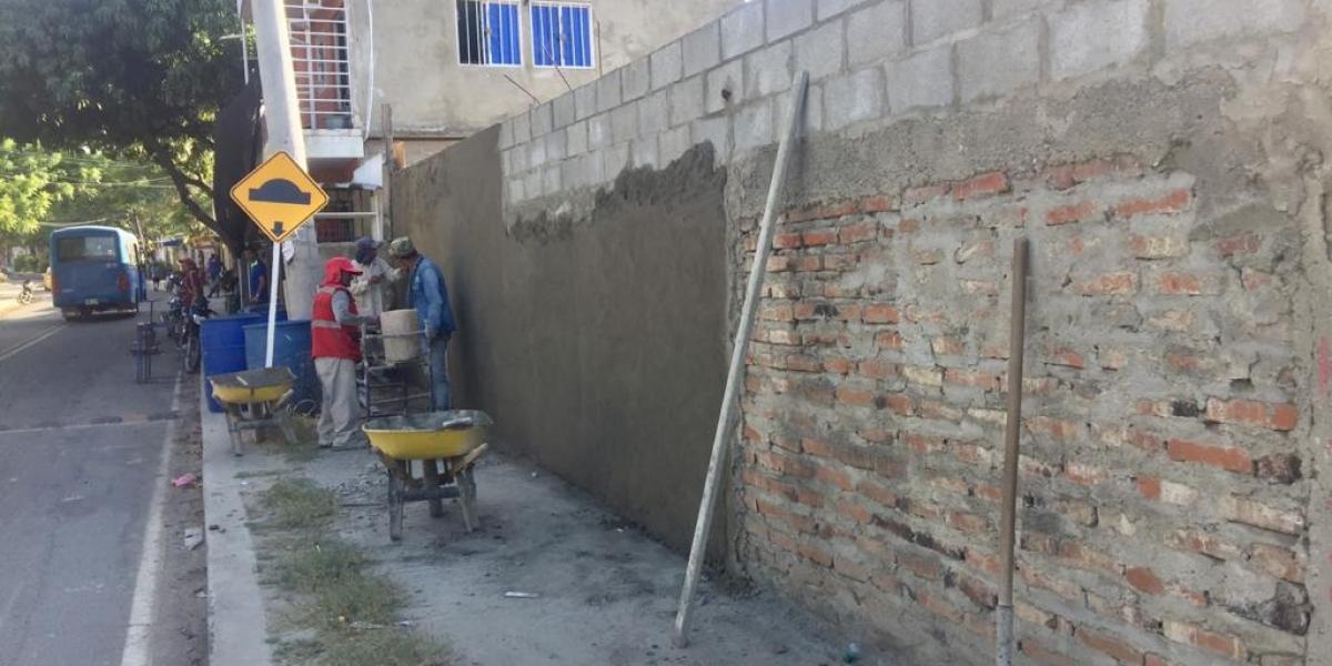 En esta pared será pintado el mural