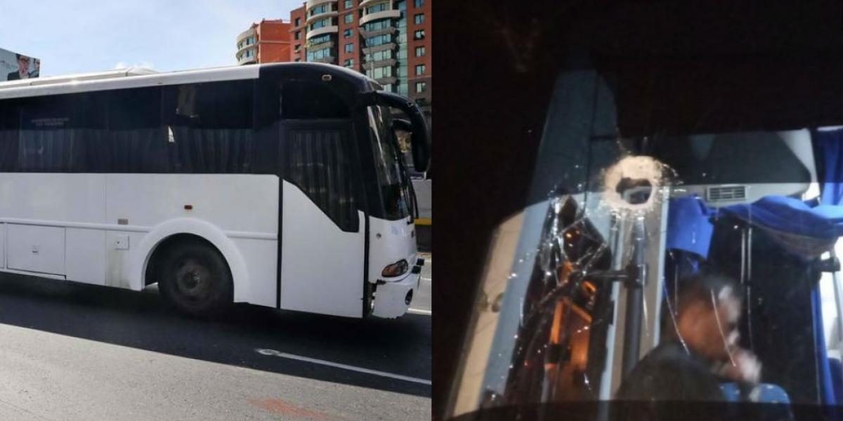 Bus en el que se transportaban los Diputados venezolanos