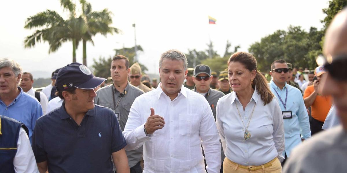 El presidente Iván Duque visitó los puentes fronterizos Simón Bolívar y Francisco de Paula Santander.