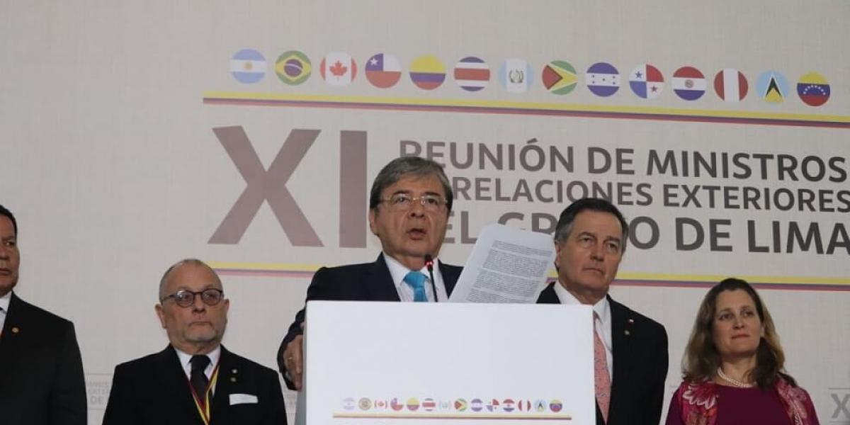El canciller colombiano Carlos Holmes Trujillo leyó el comunicado conjunto de los países miembros.