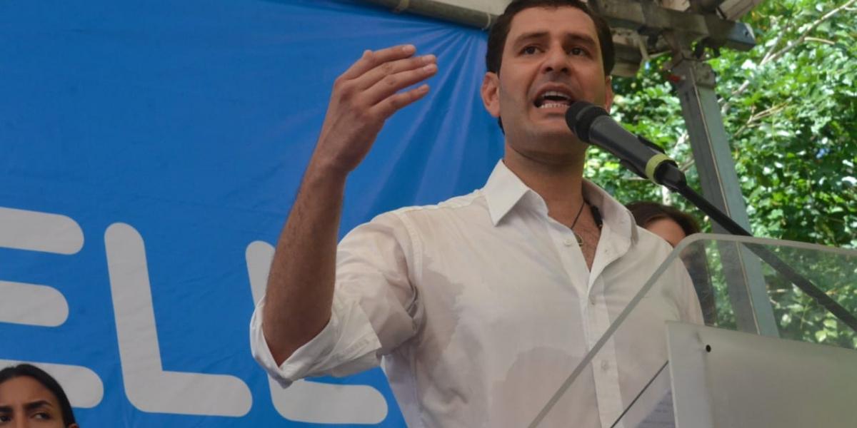 Luis Miguel Cotes, durante el anuncio oficial de su candidatura.