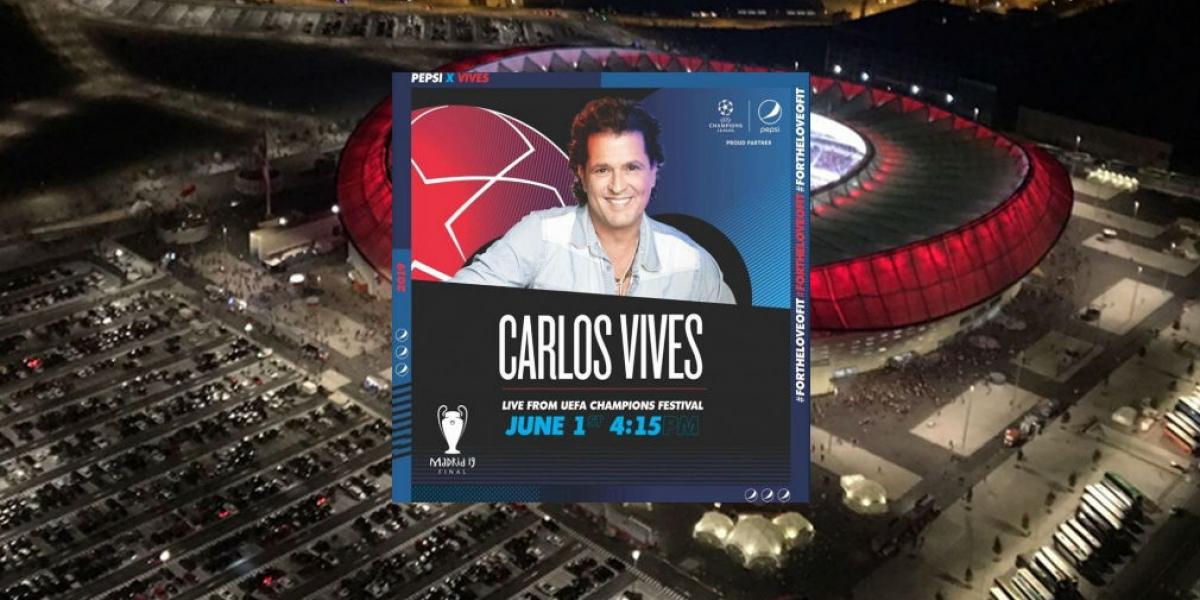Carlos Vives en show de la Uefa Champions Festival en Madrid