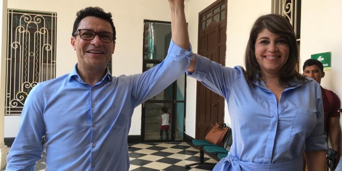 Los precandidatos a la Gobernación y la Alcaldía, Carlos Caicedo y Virna Johnson