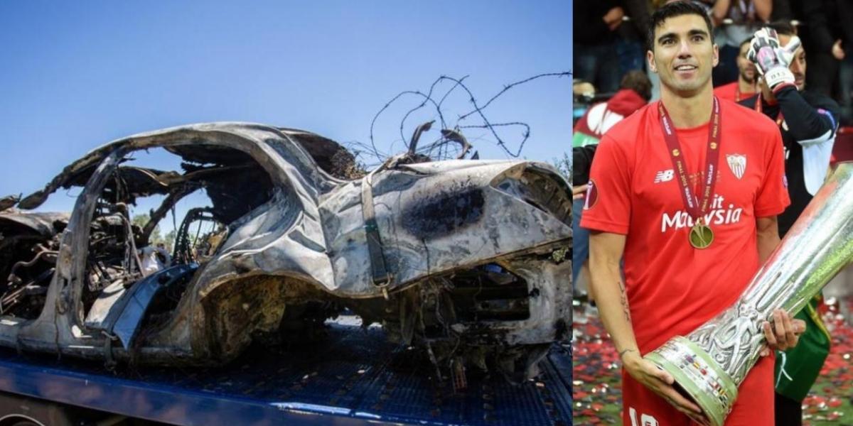 Así quedó el vehículo de José Antonio Reyes.