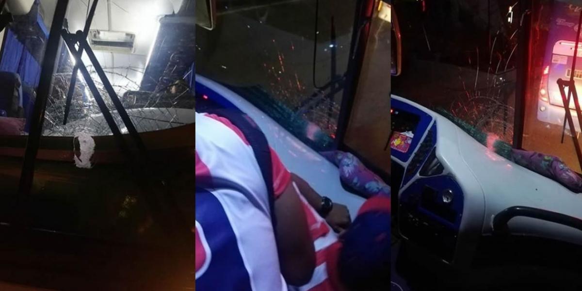 Bus con hinchas de Junior atacado a la salida de Bogotá.