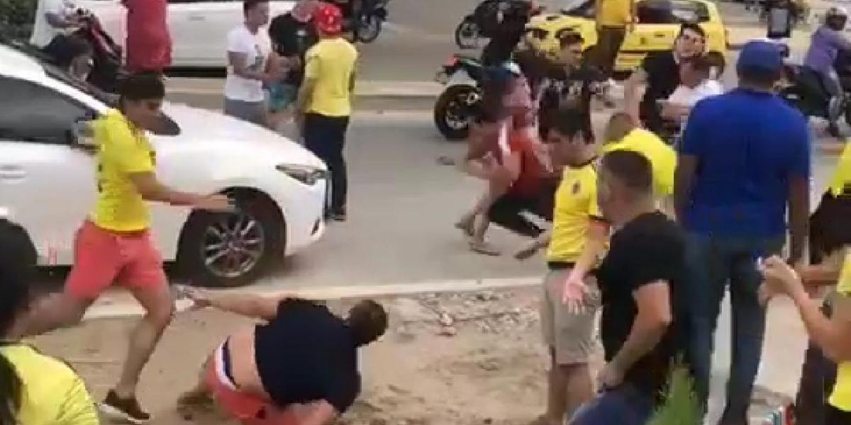 Imagen de la bochornosa pelea, este domingo en Santa Marta.