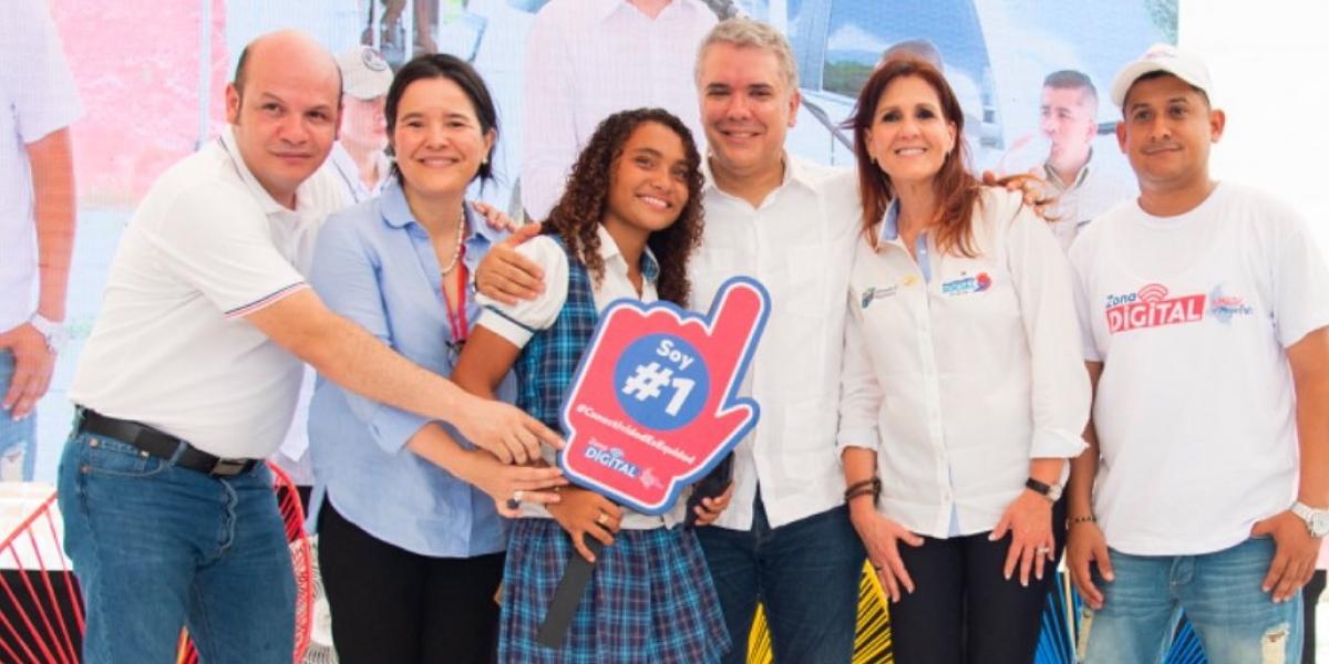 El presidente Iván Duque inauguró Zona Digital en El Bongo, Magdalena