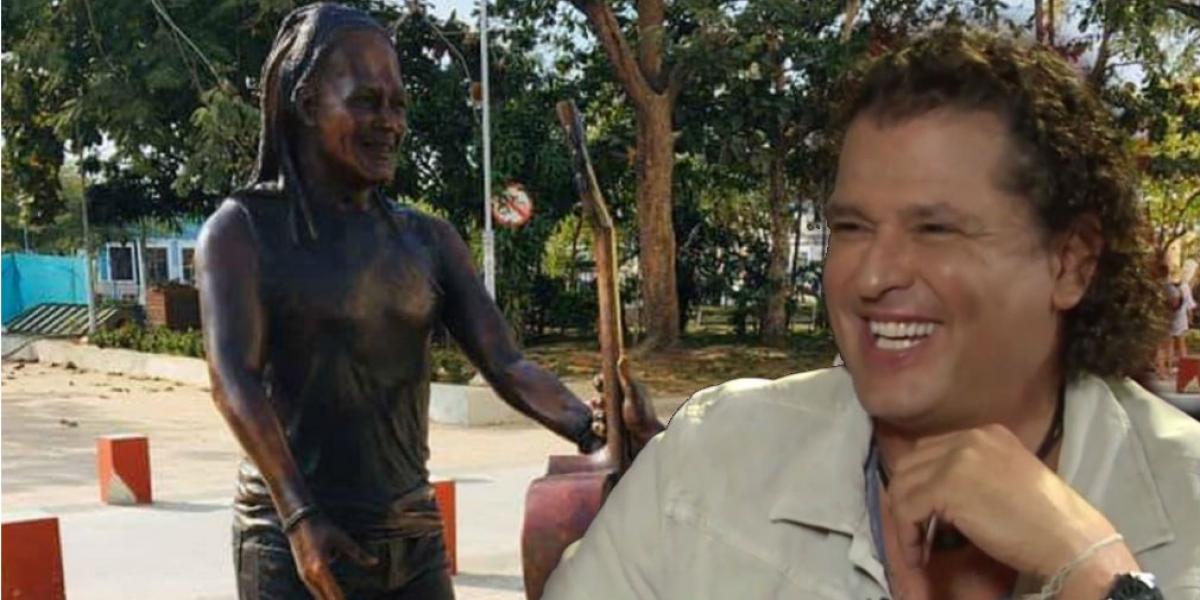 Carlos Vives y su escultura en Ciénaga.