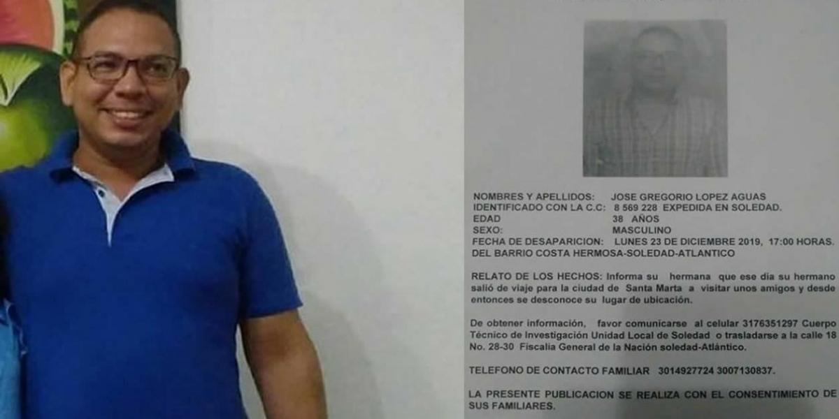 José Gregorio López Aguas y copia de la denuncia de su desaparición.