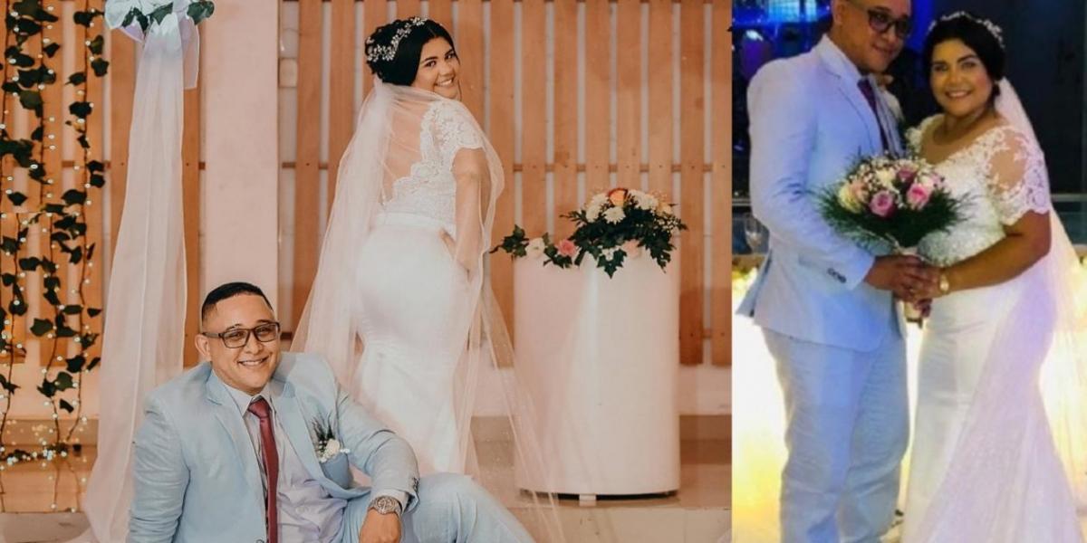 La joven pareja durante su matrimonio.