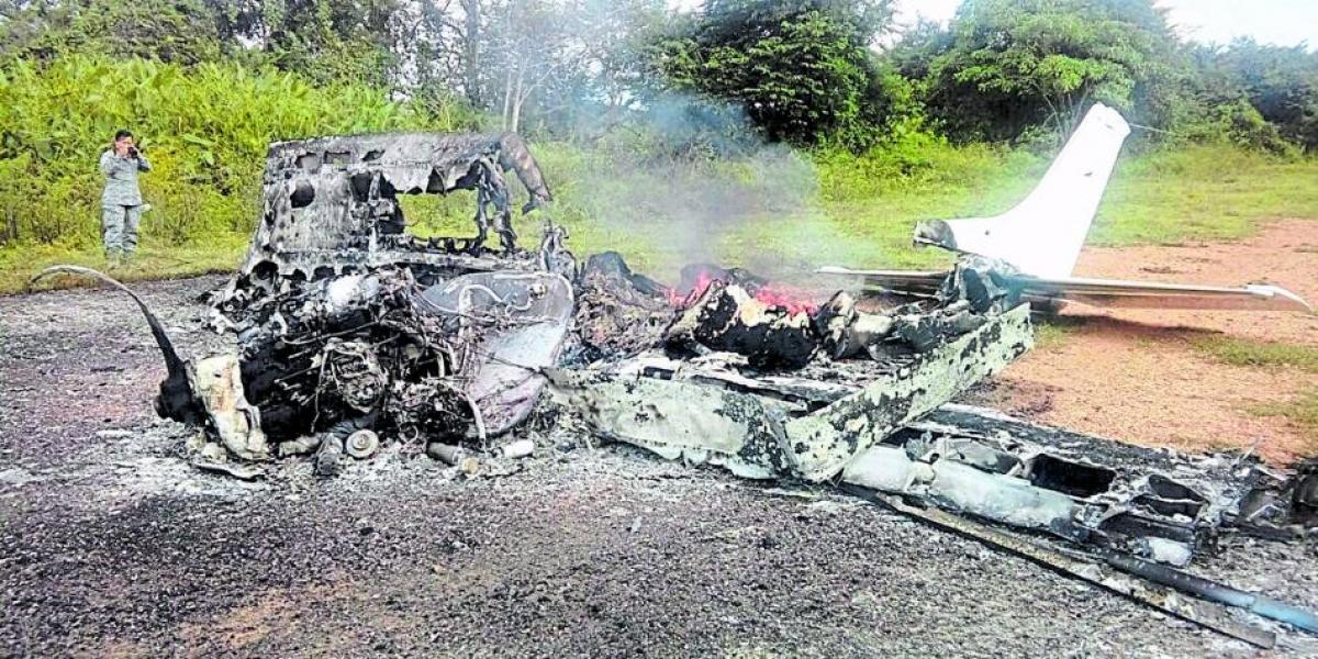 Aeronave mexicana detectada y destruida en tierra por la FAC en septiembre de 2017.