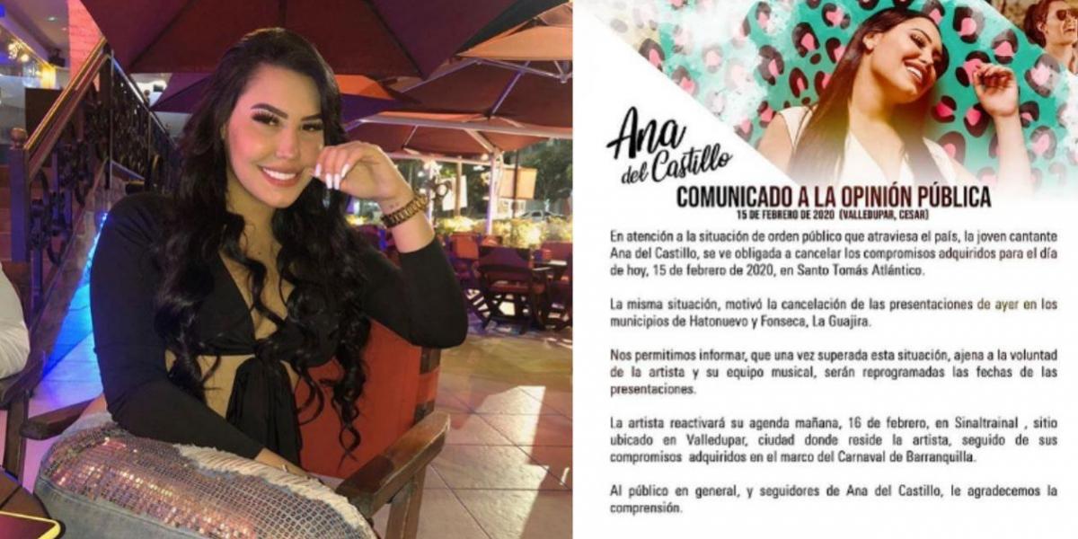 Ana del Castillo, cantante vallenata.