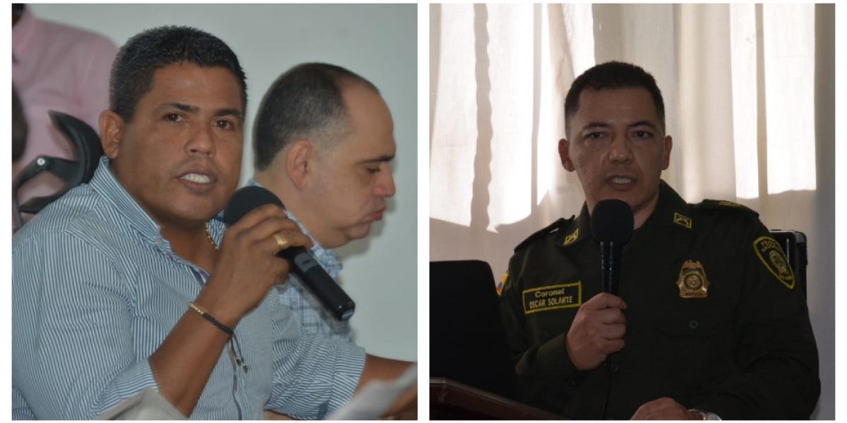 El concejal Jorge Yesid Ospino y el comandante de la Policía Metropolitana, coronel Oscar Solarte.