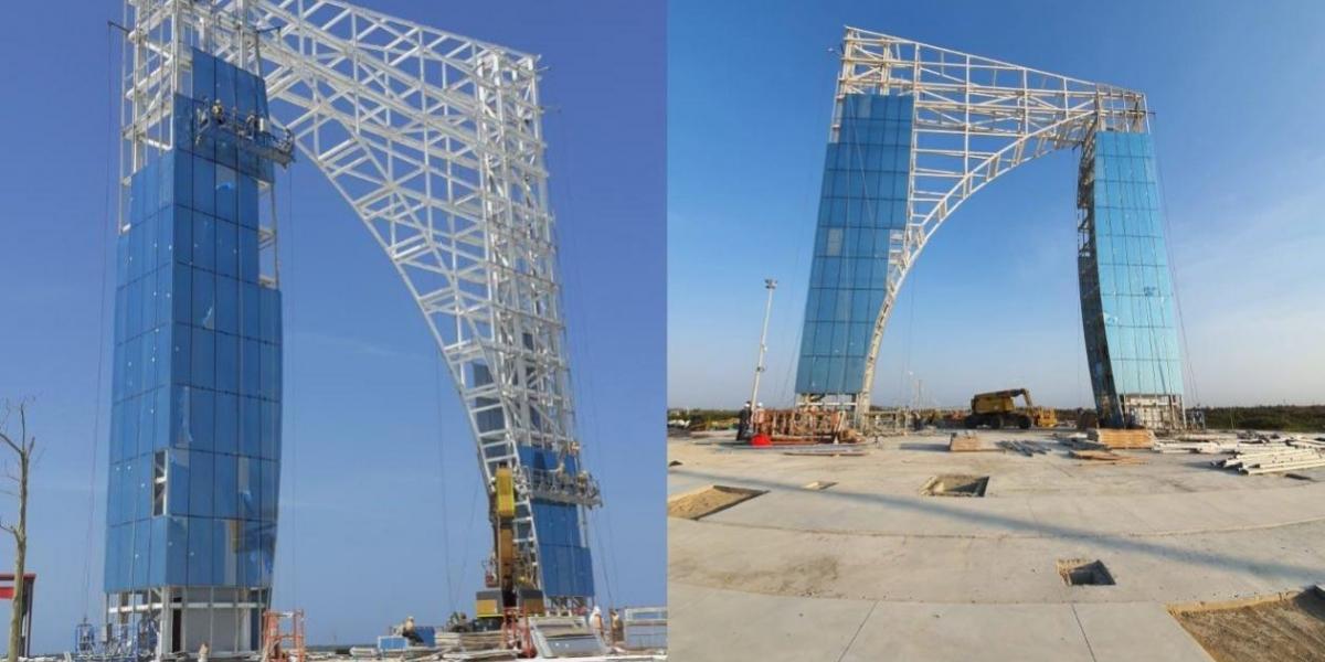 Así marcha la construcción del monumento Aleta de Tiburón, en homenaje a Junior.
