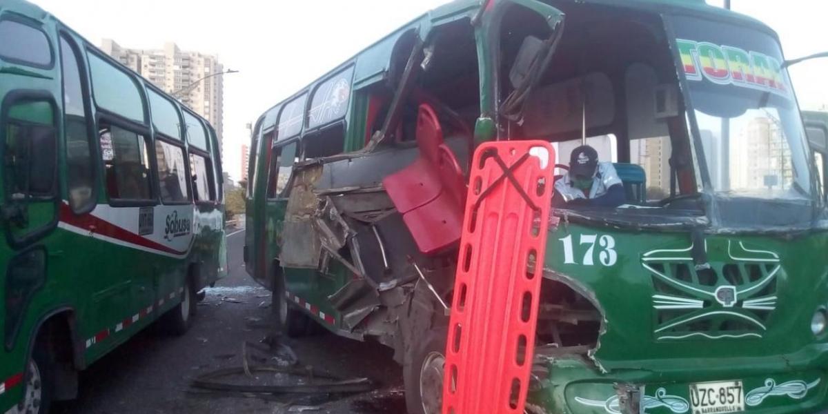 Así quedaron los buses.