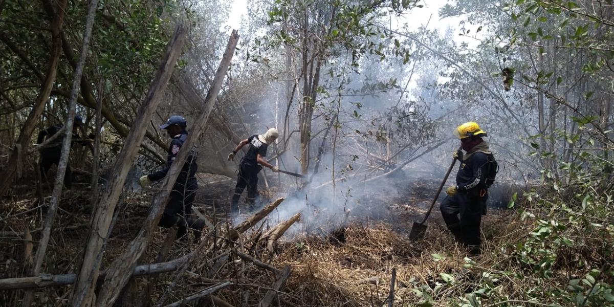 El incendio es controlado por el Cuerpo de Bomberos de Sitionuevo.