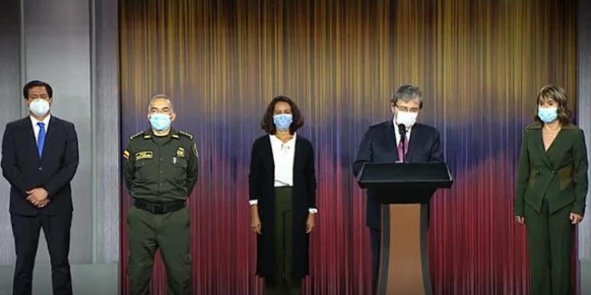Ministro de Defensa, Carlos Holmes Trujillo, en su declaración pública este miércoles.