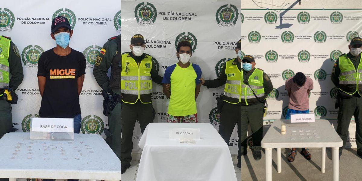 Los tres presuntos 'jíbaros' capturados.