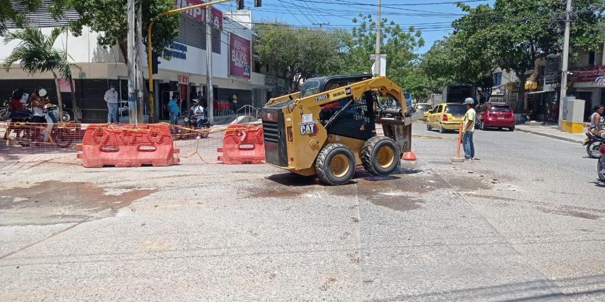 Obras en la calle 30 en Santa Marta