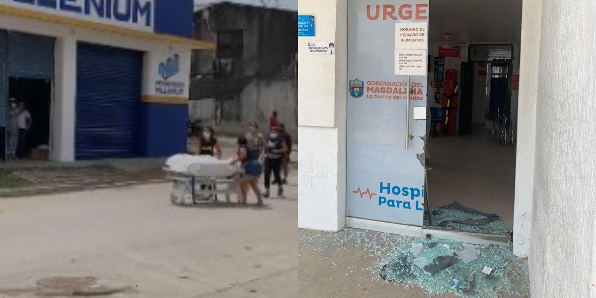 Los familiares después presuntamente de partir los vidrios de urgencia cargaron con el muerto, recorriendo las calles del municipio.