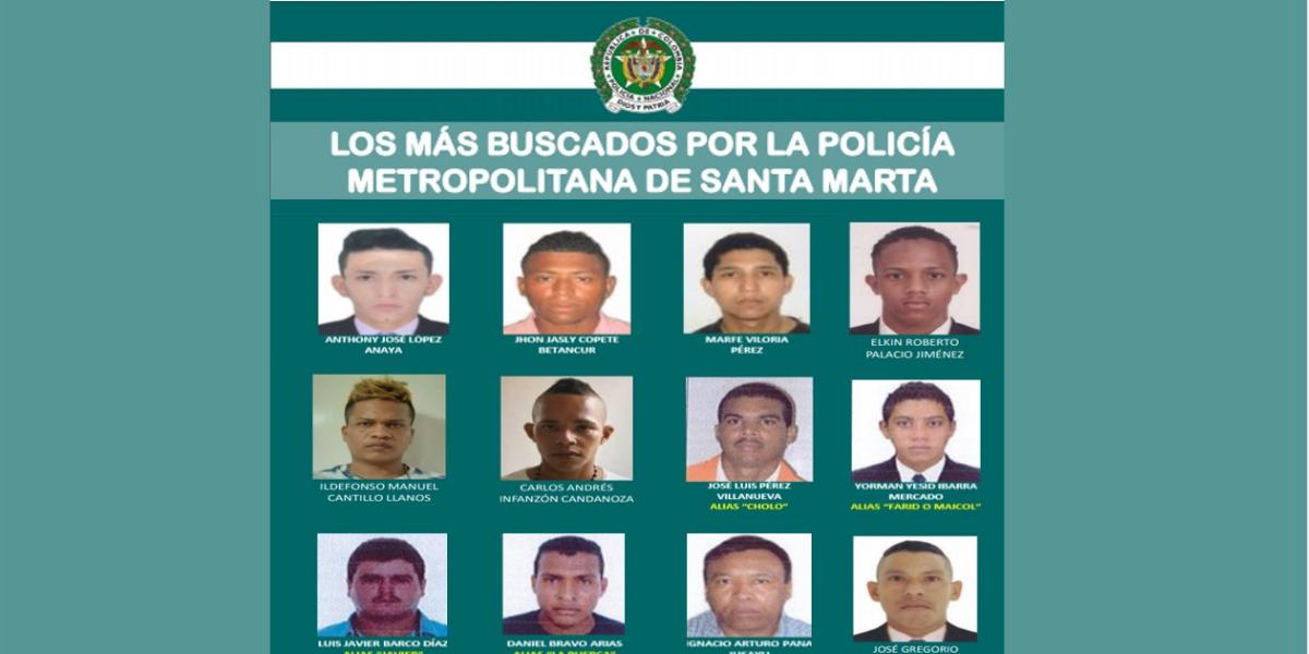 Los más buscados por homicidio y hurto en Santa Marta