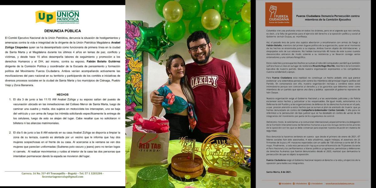 Denuncian amenazas contra Anabel Zúñiga y Fabián Bolaño.