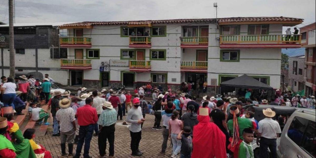 Desplazados en la cabecera de Ituango.