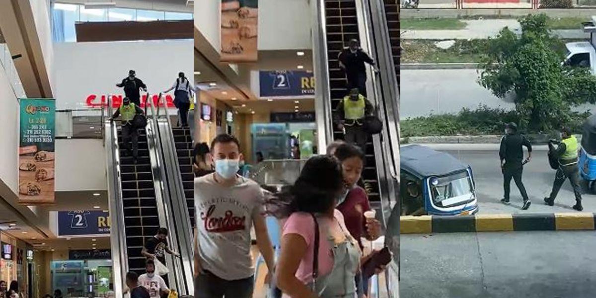 Momentos del hurto en el centro comercial Ciudad del Sol, en Soledad.