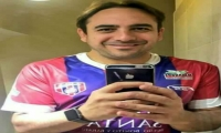 Mario Sabato luciendo la camiseta del Unión Magdalena.