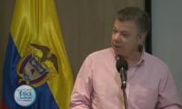 Juan Manuel Santos, en su intervención desde la ciudad de Santa Marta.