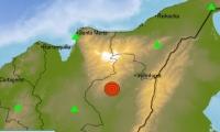 El punto rojo muestra el epicentro del sismo ocurrido esta madrugada en el Cesar.