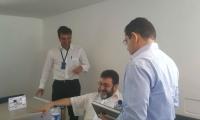 Jorge Enrique San Juan, procurador delegado, Carlos Arturo Gómez  y el Alcalde, Rafael Martínez, después de conocer la declaratoria de impedimento.