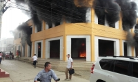 Momentos en que el edificio se prendía en llamas.