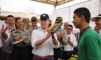 Juan Manuel Santos durante una de sus visitas a Santa Marta