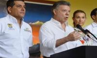 El Presidente Santos en su declaración a la prensa este domingo en Cartagena.